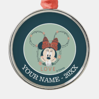 Minnie Mouse | Love Add Your Name Metal Ornament