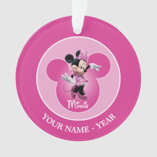 Minnie | Pink Mickey Head Icon Add Your Name Ornament