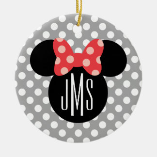 Minnie Polka Dot Head Silhouette | Monogram Ceramic Ornament
