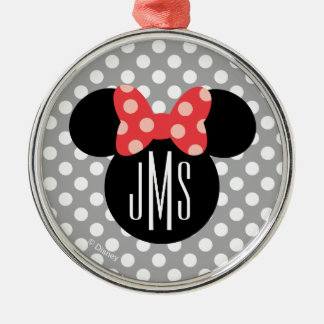 Minnie Polka Dot Head Silhouette | Monogram Metal Ornament