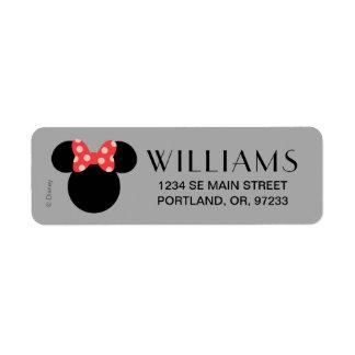 Minnie Polka Dot Head Silhouette | Monogram Return Address Label