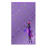 minniemay purple grey damask fashionista business card template