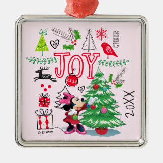 Minnie's Christmas Joy   Add Your Name Metal Ornament