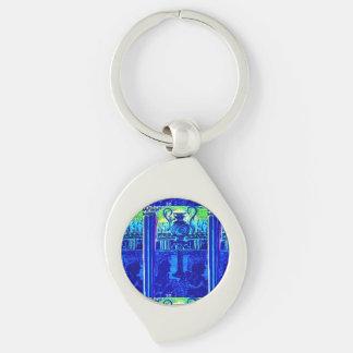Minoan Art Style Keychain Silver-Colored Swirl Key Ring