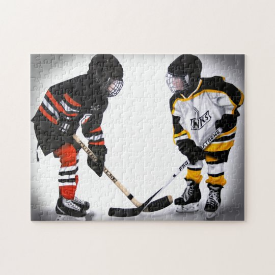 minor hockey players at faceoff puzzle