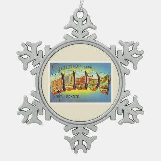 Minot North Dakota ND Old Vintage Travel Souvenir Snowflake Pewter Christmas Ornament