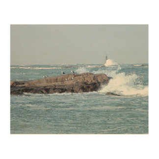 Minot Waves -- Scituate, MA Wood Canvas