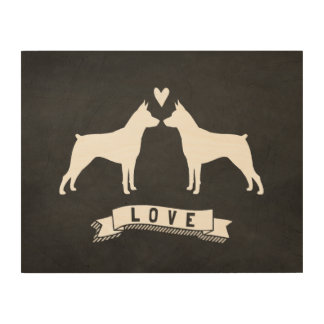 MinPins Love - Dog Silhouettes with Heart Wood Canvas