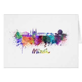 Minsk skyline in watercolor card