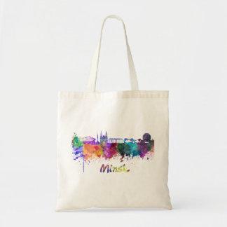 Minsk skyline in watercolor tote bag