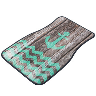 Mint Anchor on old wood Car Mat