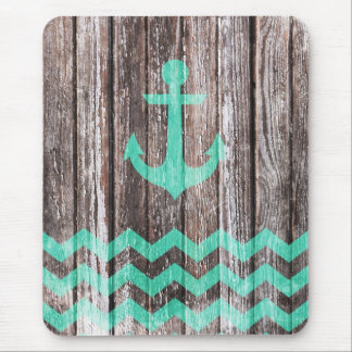 Mint Anchor on old wood Mouse Pad