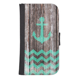 Mint Anchor on old wood Samsung S4 Wallet Case