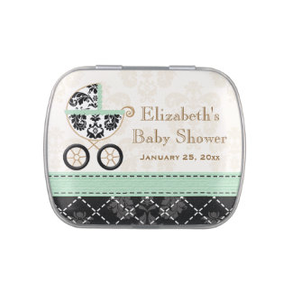 Mint and Black DAMASK Carriage Baby Shower Favor Jelly Belly Candy Tins