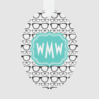 Mint and Black Monogrammed Nerdy Glasses Ornament