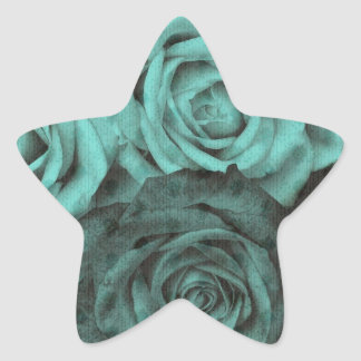 Mint and black polka dot roses star sticker