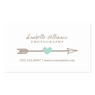 Mint and Brown Heart and Arrow Pack Of Standard Business Cards