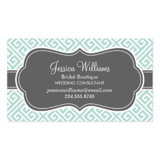 Mint and Charcoal Greek Key Pattern Business Card