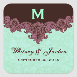 Mint and Chocolate Vintage Wedding Names Date S433 Square Sticker
