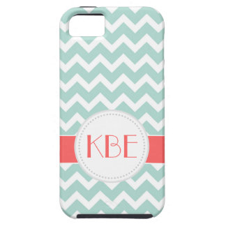 Mint and Coral Chevron Custom Monogram Tough iPhone 5 Case