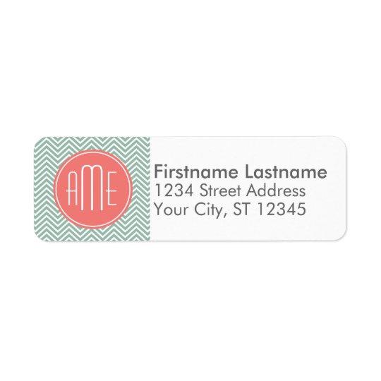 Mint and Coral Chevrons Custom Monogram Return Address Label
