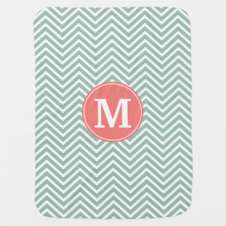 Mint and Coral Chevrons with Custom Monogram Baby Blanket