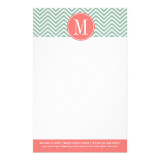 Mint and Coral Chevrons with Custom Monogram Stationery