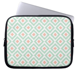 Mint and Coral Diamond Ikat Pattern Laptop Sleeve