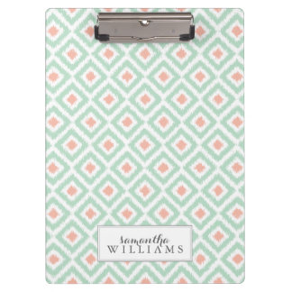 Mint and Coral Diamonds Ikat Pattern Clipboard