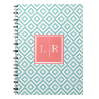 Mint and Coral Diamonds Pattern Monogrammed Note Book