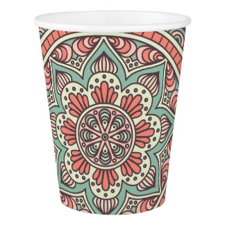 Mint and Coral Mandala Pattern | Paper Cups