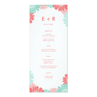 """Mint and Coral Modern Floral Wedding Menu Cards 4"""" X 9.25"""" Invitation Card"""