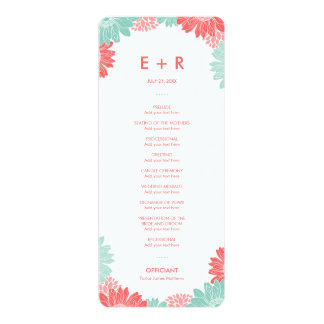 Mint and Coral Modern Floral Wedding Program
