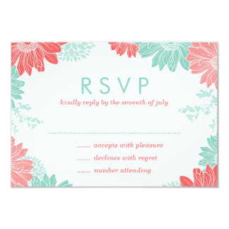 Mint and Coral Modern Floral Wedding RSVP Card 9 Cm X 13 Cm Invitation Card