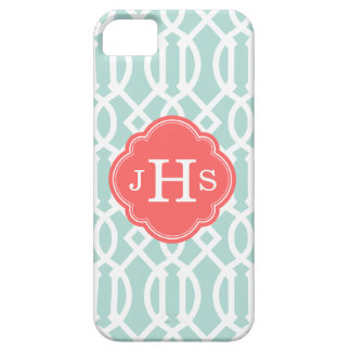 Mint and Coral Modern Trellis Custom Monogram Barely There iPhone 5 Case