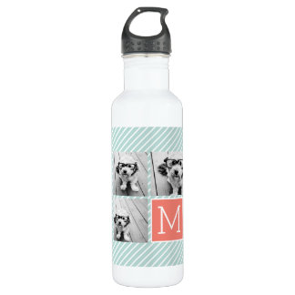 Mint and Coral Photo Collage with Custom Monogram 710 Ml Water Bottle