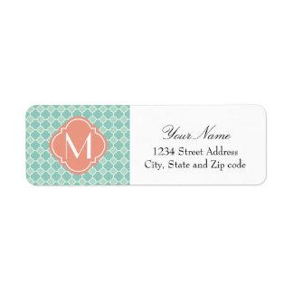 Mint and Coral Quatrefoil Pattern with Monogram Return Address Label
