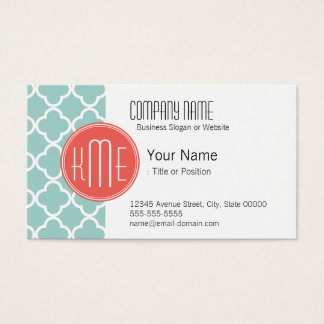 Mint and Coral Quatrefoil with Custom Monogram Business Card