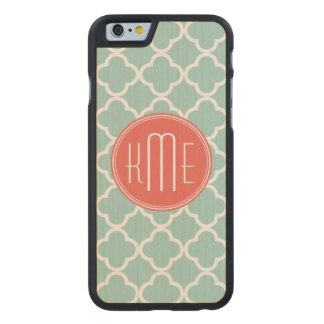 Mint and Coral Quatrefoil with Custom Monogram Carved Maple iPhone 6 Case