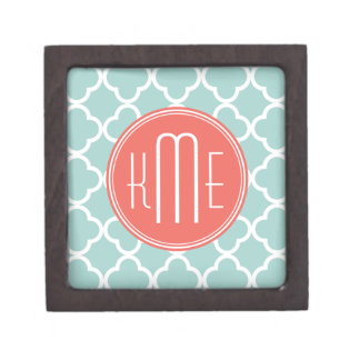 Mint and Coral Quatrefoil with Custom Monogram Premium Gift Boxes