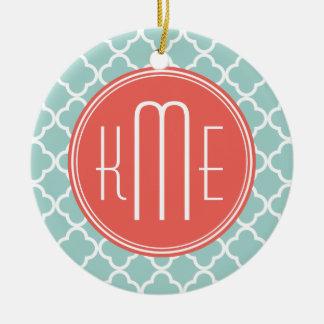 Mint and Coral Quatrefoil with Custom Monogram Round Ceramic Decoration