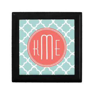 Mint and Coral Quatrefoil with Custom Monogram Small Square Gift Box