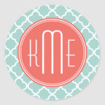Mint and Coral Quatrefoil with Custom Monogram Round Sticker