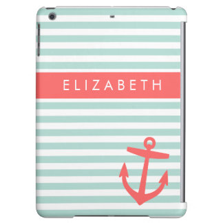 Mint and Coral Stripes and Anchor Monogram iPad Air Case