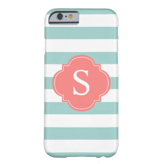 Mint and Coral Stripes Monogram Barely There iPhone 6 Case