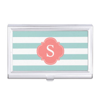Mint and Coral Stripes Monogrammed Business Card Holder