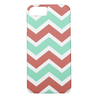 Mint and coral zigzag iPhone 8/7 case