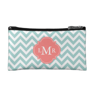 Mint and Coral Zigzags Monogrammed Makeup Bag