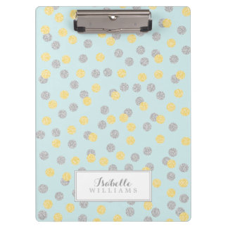 Mint and Faux Glitter Polka Dots Clipboard