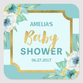 Mint and Faux Gold Floral Baby Shower Square Sticker